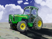 Plow Paintings - 1998 John Deere 5510N Farm Tractor by Brad Burns