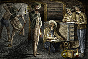 Working Conditions Posters - 19th-century Coal Mining Poster by Sheila Terry