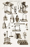 Ball Jars Posters - 19th Century Electro-magnetic Equipment Poster by Sheila Terry