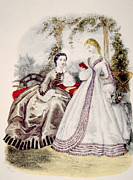 Full Skirt Metal Prints - 19th Century Fashion Illustration Metal Print by Everett