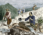 Simonin Prints - 19th-century Gold Mining, Australia Print by Sheila Terry
