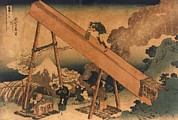 Sawing Framed Prints - 19th Century Japanese Print Shows Two Framed Print by Everett