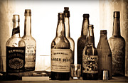 Ranch Prints - 19th Century Liquor Bottles  Print by Levin Rodriguez