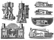 Merchant Ship Prints - 19th Century Marine Steam Engines Print by Sheila Terry