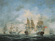 Sailing Ships Framed Prints - 19th Century Naval Engagement in Home Waters Framed Print by Richard Willis