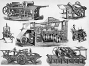 Technical Photo Framed Prints - 19th Century Printing Machines Framed Print by Sheila Terry