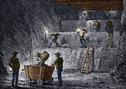 Mines And Miners Photos - 19th-century Step Mining, Prussia by Sheila Terry