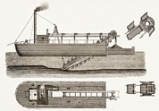 Technical Posters - 19th Centurydredging Machine Poster by Sheila Terry