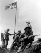 Battles Tapestries Textiles - 1st Flag Raising On Iwo Jima  by War Is Hell Store