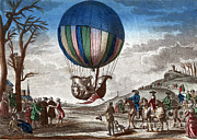 Jacques Art - 1st Manned Hydrogen Balloon Flight, 1783 by Photo Researchers