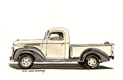 Pen And Ink Framed Prints Paintings - 1946 Chevrolet Pick Up by Jack Pumphrey