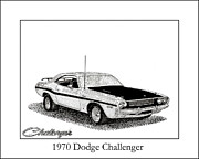 Pen And Ink Framed Prints Drawings Posters - 1970 Dodge Challenger Poster by Jack Pumphrey