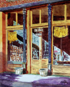 Store Fronts Painting Metal Prints - 5 OClock on Pecan St. Metal Print by Ron Stephens