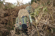 Covering Prints - A British Army Sniper Team Dressed Print by Andrew Chittock