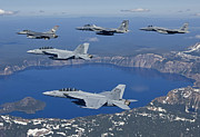 F-18 Posters - A Five Ship Aircraft Formation Flies Poster by HIGH-G Productions