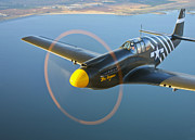 Front View Art - A P-51a Mustang In Flight by Scott Germain