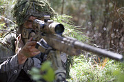 Ghillie Suits Prints - A Sniper Sights In On A Target Print by Stocktrek Images