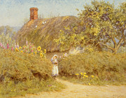 Thatch Framed Prints - A Surrey cottage Framed Print by Helen Allingham