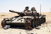 Nato Prints - A T-72 Tank Destroyed By Nato Forces Print by Andrew Chittock