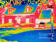 Driveways Prints - A Thermogram Of A Home In Winter Print by Ted Kinsman