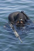 Head Above Water Posters - A U.s. Navy Seal Combat Swimmer Poster by Michael Wood