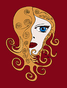 Swirls Drawings Posters - A Woman Poster by Frank Tschakert