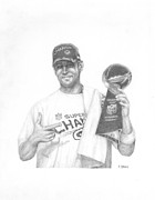 Quarterback Drawings - AAron Rodgers by Rick Yanke