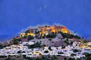 Greek Paintings - Acropolis and village of Lindos by George Atsametakis