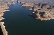 Aerial View Of Lake Powell Print by Carl Purcell