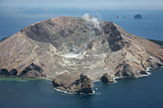 Volcanic Activity Framed Prints - Aerial View Of White Island Volcano Framed Print by Richard Roscoe