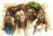Pen And Ink Portraits Posters - Africas Untapped Natural Resources  Color Poster by Julie Ann Caldwell