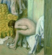 Interior Pastels Posters - After the Bath Poster by Edgar Degas