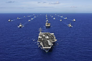 Large Group Of Objects Art - Aircraft Carrier Uss Ronald Reagan by Stocktrek Images