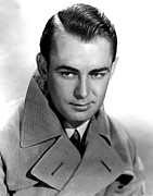 Coat Framed Prints - Alan Ladd, Portrait Framed Print by Everett