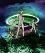 Life-threatening Metal Prints - Alien Invasion Metal Print by Victor Habbick Visions