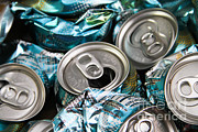Soda Can Posters - Aluminum Cans For Recycling Poster by Photo Researchers, Inc.