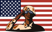 Front View Digital Art Posters - American soldier saluting flag Poster by Aloysius Patrimonio