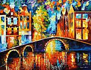 Afremov Painting Metal Prints - Amsterdam Metal Print by Leonid Afremov