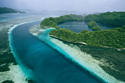 Caroline Islands Prints - An Aerial View Of Islands Print by Tim Laman