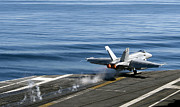 F-18 Photo Prints - An Fa-18e Super Hornet Launches Print by Stocktrek Images