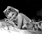 Beach Towel Prints - Ann Sheridan, Portrait Print by Everett