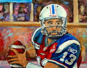 Quarterback Paintings - Anthony Calvillo by Carole Spandau