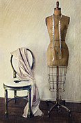 Beige Dress Framed Prints - Antique dress form and chair with vintage feeling Framed Print by Sandra Cunningham