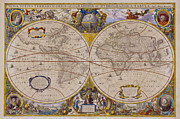 Antique Map Digital Art Metal Prints - Antique Map Of The World Metal Print by Comstock