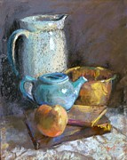 Antiques Paintings - Aqua Blue and Brass by Donna Shortt