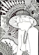 Woman Pyrography Metal Prints - Art Metal Print by Joanna M