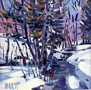 Plein Air Art - Aspen in the Snow by Donald Maier