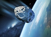 Planetoid Posters - Asteroid Approaching Earth, Artwork Poster by Detlev Van Ravenswaay