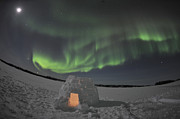 Snow-covered Landscape Framed Prints - Aurora Borealis Over An Igloo On Walsh Framed Print by Jiri Hermann