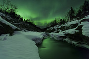 Green Energy Framed Prints - Aurora Borealis Over Tennevik River Framed Print by Arild Heitmann